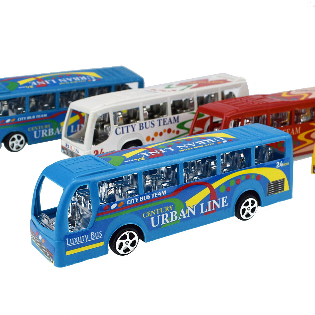 Return Force Of Multicolor Plating Base Transit Bus Vehicle Toys Children Back Of The Car Toys