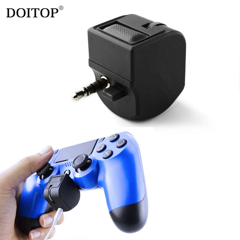DOITOP 3.5mm Audio Jack Headset Adapter For PS4 Video Game Gamepad PlayStation4 Earphone Volume Microphone Control