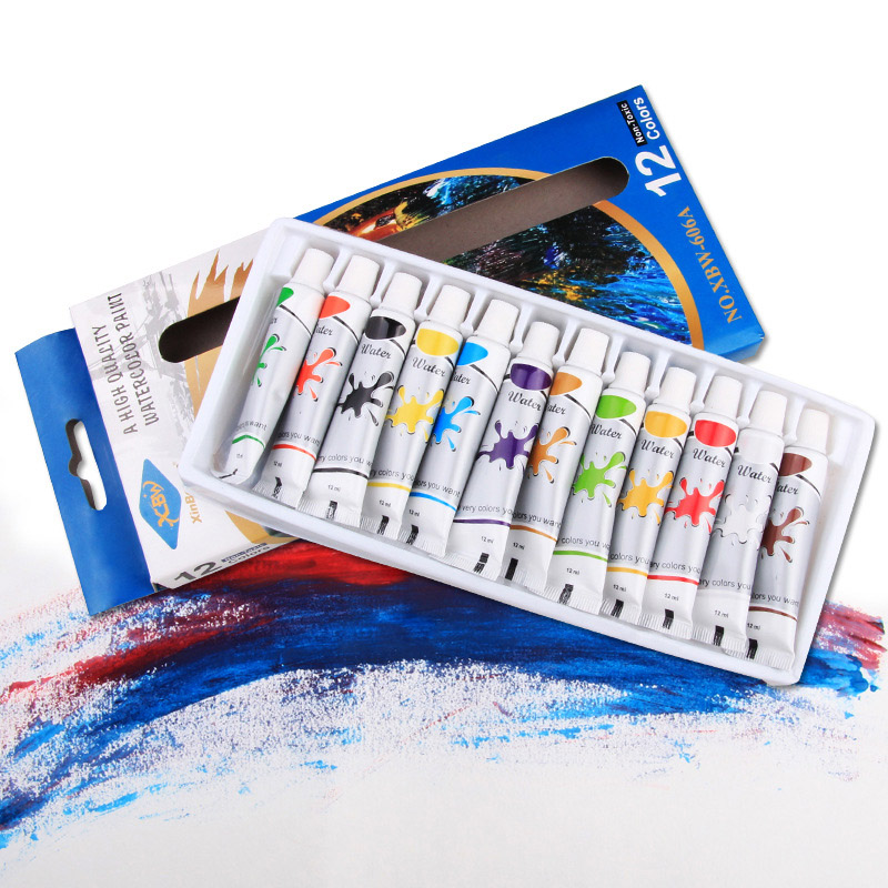 12ml High Quality Liquid Watercolor Pigment Set With Paint Brush DIY Glass Fabric Drawing Pigment School Stationery Art Supplies