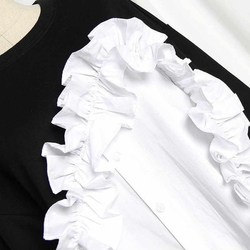 TWOTWINSTYLE Patchwork wzburzyć damska bluza z kapturem z długim rękawem Hit kolory nieregularne pulowerowe topy kobiet 2019 jesień moda nowy