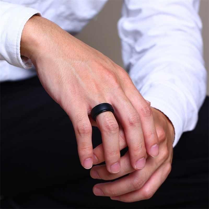 Vnox bandas de boda de goma de silicona asequibles para hombres y mujeres anillos de Color blanco negro Anel Casual