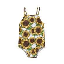 Kids Sunflower Print One Piece Suits Swimwear Baby Girls Swimsuit Sunflower Bathing Suit Swimming Costume