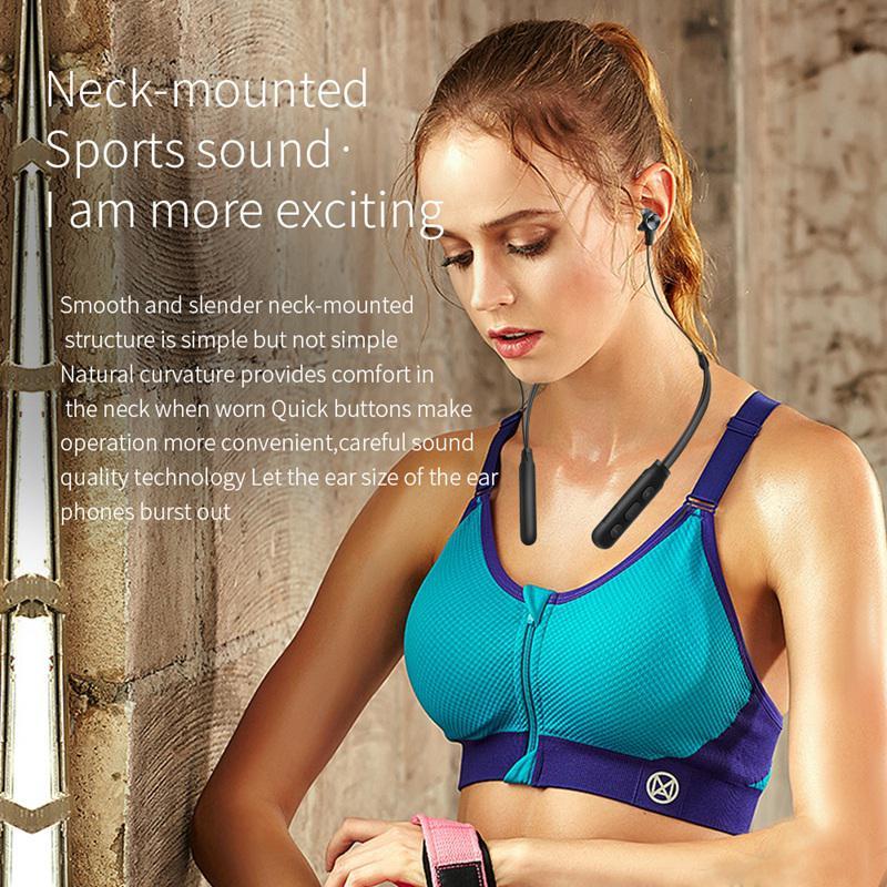 DM1 Sports Headset Neck-mounted Bluetooth Wireless Headphones earphones Stereo Sweatproof Music Noise canceling black