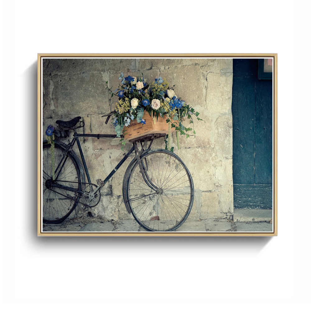 "Modern Art Bicycle Dog Canvas Painting  Wall Paintings Pictures  Print Artwork Without Frame Home Decoration 40"" X 30"""
