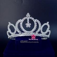 Тиара из циркония с кристаллами Стразы короны свадебные аксессуары