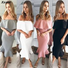 Xnxee New Sexy Solid Ruffles Slash Neck Long Dress 2018 Vestidos Summer Women Dresses Fashion Club Party Vestido