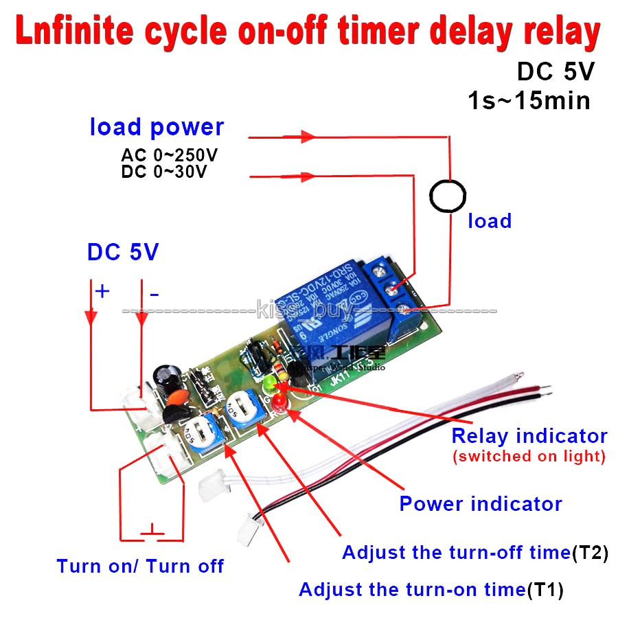 DC 5V Infinite Cycle Delay Timing Timer Relay ON OFF Switch Loop Module
