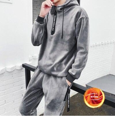 Hommes ensemble 2018 hiver nouveau plus or velours épaissir chaud à capuche sweat streetwear hoodies + pantalon deux pièces ensemble hommes costumes - 4