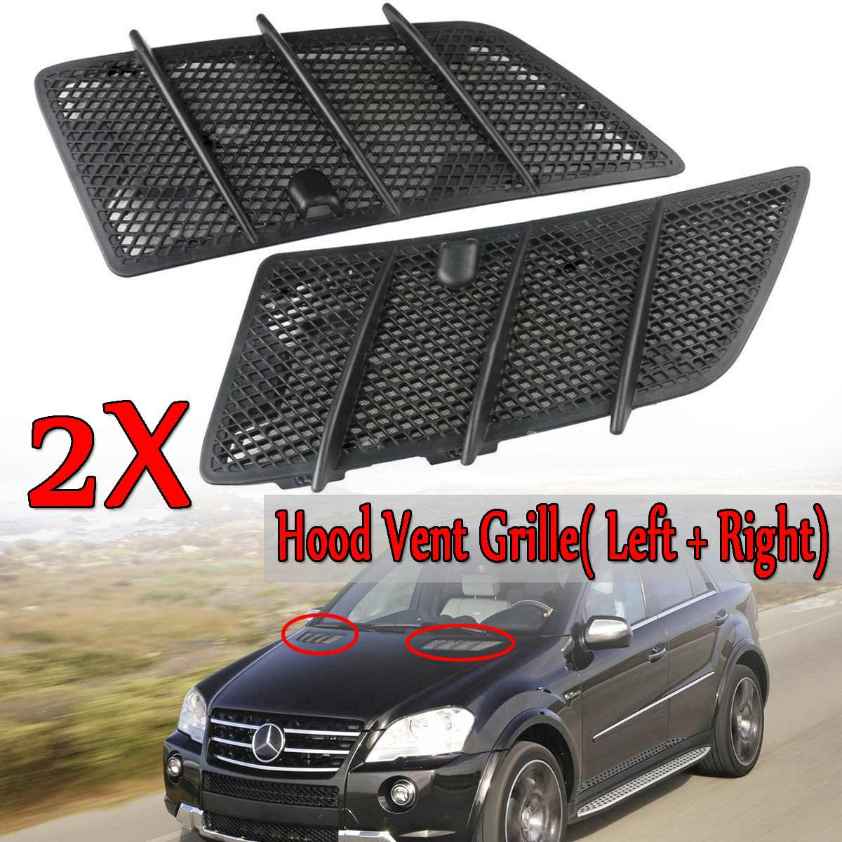 High Quality Car Front Hood Vents Grille Black For Mercedes For Benz W164 ML / GL Class 2008 2011 Air Flow Intake Hoods