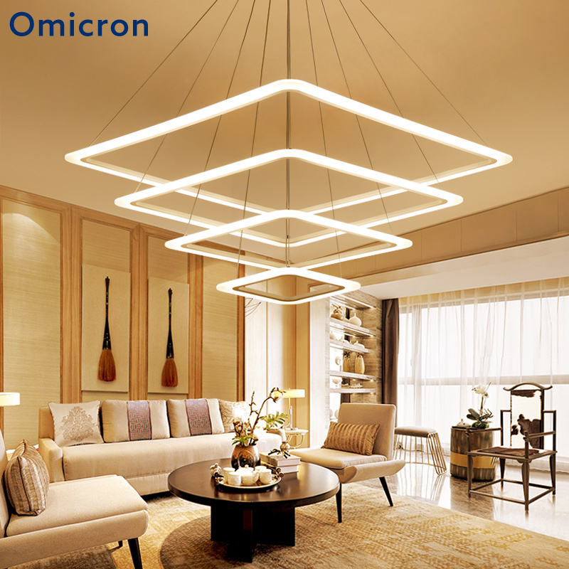 Omicron Modern Creative White Metal Square Rings Led Pendant Lights For Dinning Room Living Decor Hanging Lamp