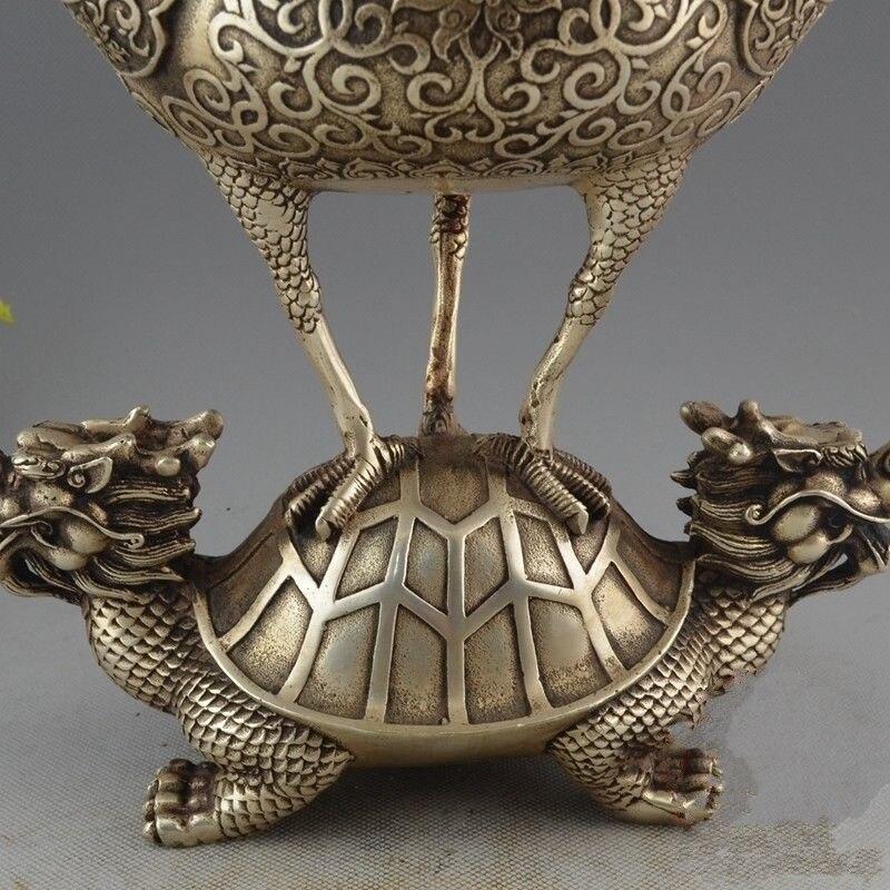 Rare chine Antique vieux tibétain argent Dragon tortue grue brûleur d'encens encensoir - 3