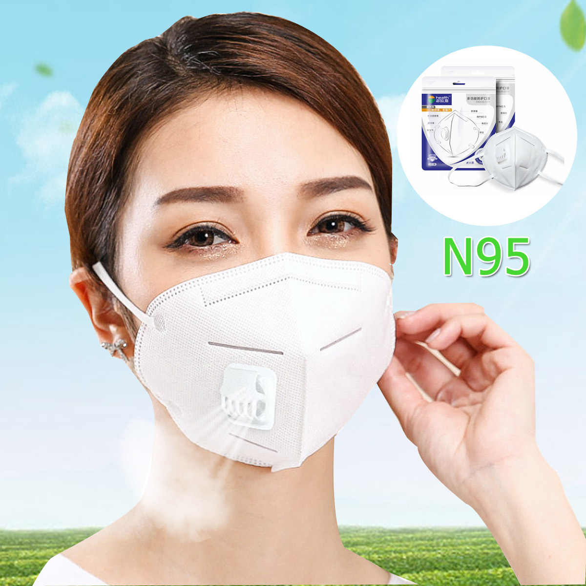 4 Air Mask Kifit Anti Dustproof Breathing Valve Filter Pollution Fog N95 Pathogen Anti-virus 5 1pc Layer