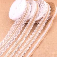 Кружевная лента, отделка края, натуральный джут, Лидер продаж, деревенский Винтаж, 25 мм, свадебное украшение из мешковины, Hessian, сделай сам, с белым кружевом, 1 метр