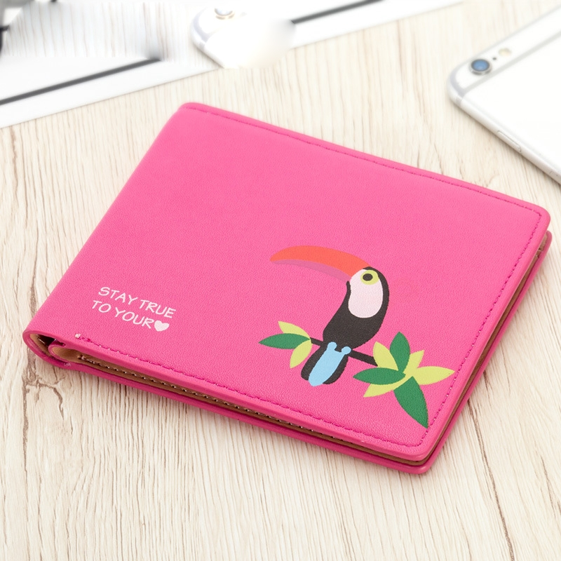 Ladies Short Wallet Love Bird Print Cross Section Small Purse Cartoon Cute Purse in Wallets from Luggage Bags