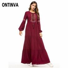 Burgundy Retro Women Long Dress Ethnic Geometric Embroidery Big Size Tunic  Tassel Drawstring Maxi Robe Lantern a76baa11e