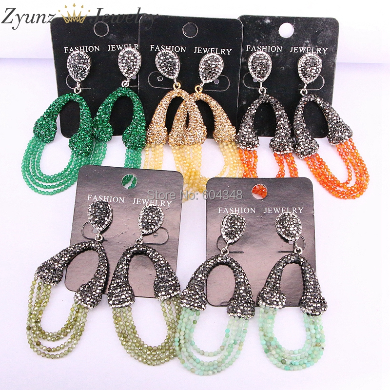 5Pairs Women s Tassel Earrings Rhinestone Paved Crystal Tassel Dangle Earring Drop Bohemian Statement Earring Woman