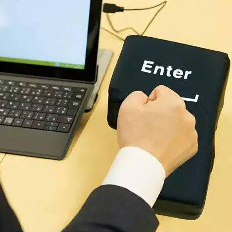 Stress Relief Release Geben Riesen Große Taste USB Enter-Taste Kissen Supersized Unzerbrechlich Office Home Computer Laptop Neuheit Spielzeug