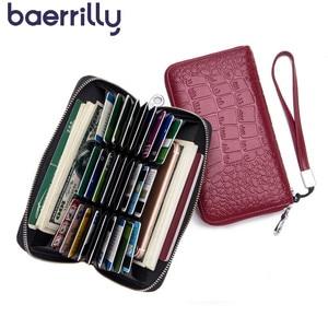 Image 1 - Womens Wallet Genuine Leather Wallet  Rfid 27 Card Holders Coin Purse Zipper Wallet For Women Кошелек portemonee vrouwen