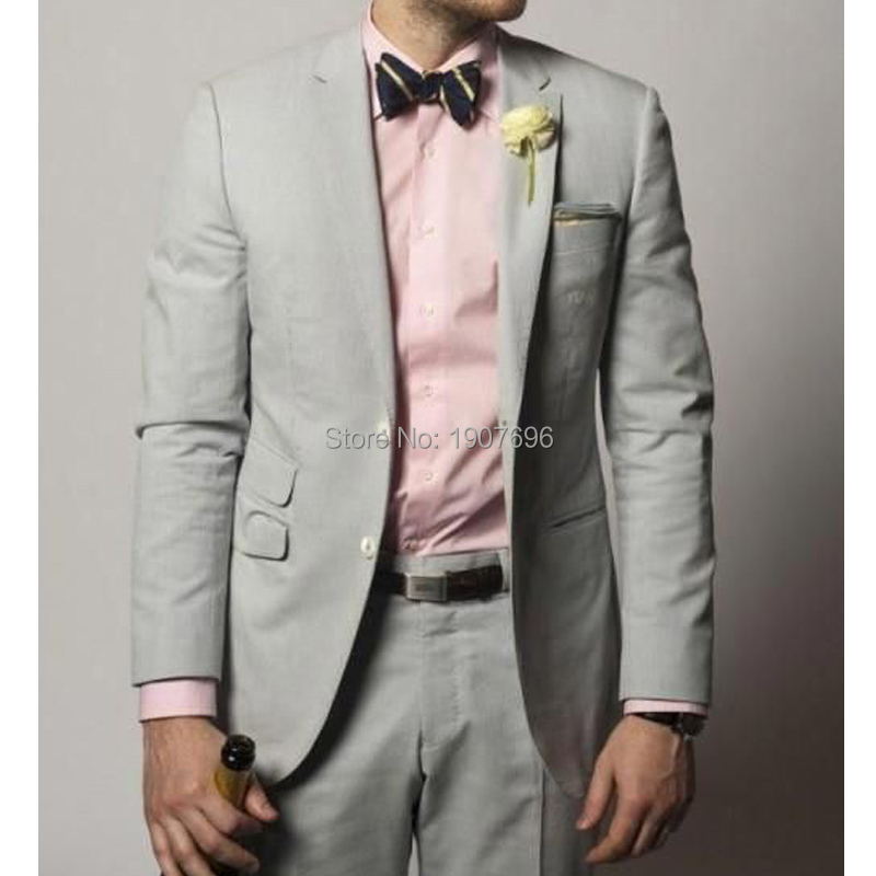 Gray Wedding Groom Tuxedos for Prom Party Men Suits 2019 Two Piece Notched Lapel Gentleman Formal Jacket Pants Custom Blazer in Suits from Men 39 s Clothing