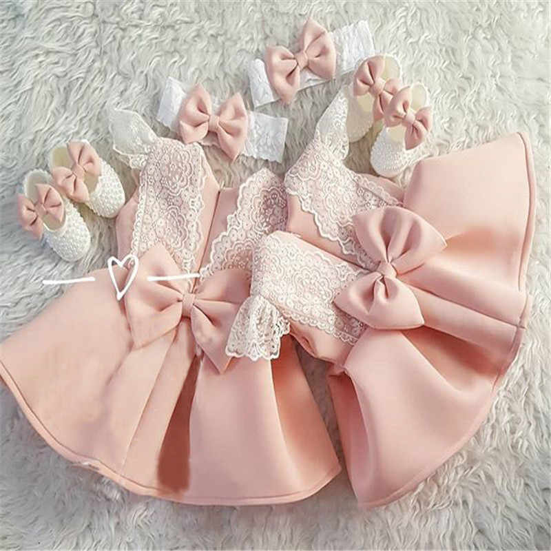 Cute Kids Baby Girls Formal Princess Dress Lace Sleeve Back Bowknot Pageant Birthday Wedding Party Pleated Dress Zipper Set 1-5Y
