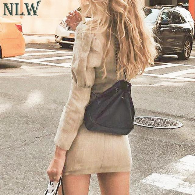 NLW 2019 Women Fashion Blazer Dress Casual V Neck High Waist Slim Mini Dress Long Sleeve Button Office Lady Chic Short Dresses 1