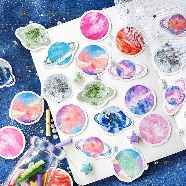 45 יח'\קופסא Planet מדבקות צבעוני שמיים דקורטיבי דבק מכתבים מדבקות לילדים Diy אלבומים תמונות יומן רעיונות צעצועים