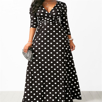 Women Long Maxi Dresses Bohemia V-neck Three Quarter Sleeve Dots Print Ethnic Summer Beach Female Stylish Style Dress