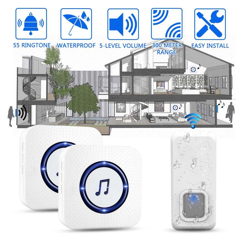 1 Satz Doppel Empfänger Wireless Türklingel 300 Mt Remote Call 55 Ringe Einfach Installieren Wasserdichte Intelligente Tür Glocke Noch Nicht VulgäR