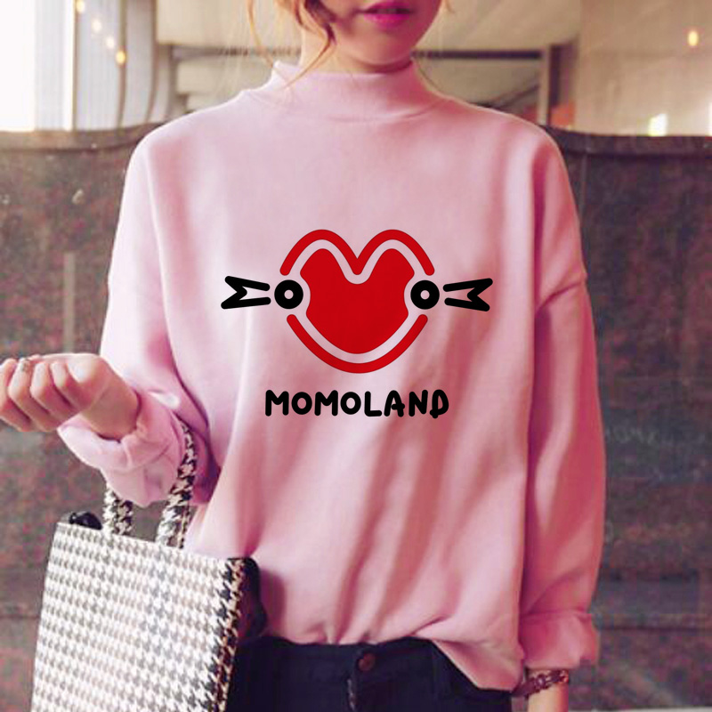 Momoland Hoodies Women Oversized Sweatshirt Female Korean Style Kawaii Fleece Oversized Winter Sweatshirt Female