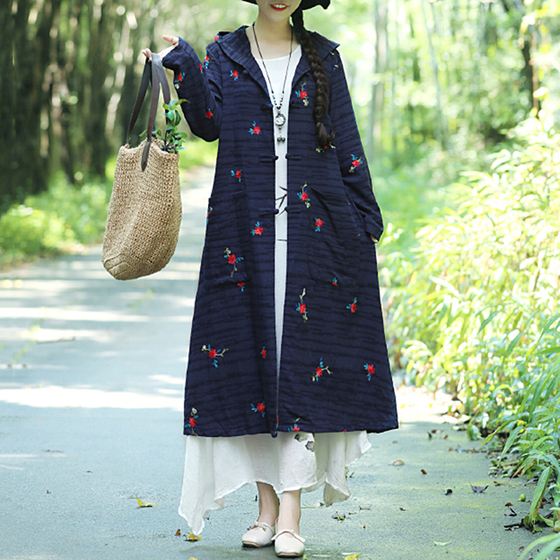 EaseHut Vintage Autumn Long   Trench   for Women Jacquard Embroidery V Neck Long Sleeve Hood Pocket Loose Cardigan Outerwear Coat
