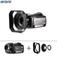 Ordro AC5 4 K 12X Оптический зум 24MP Wi Fi ips Сенсорный экран Камера + бленда Wi Fi цифровой видео Камера видеокамера Регистраторы