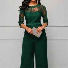 Women Summer Party Sexy Jumpsuit Summer Fall Bodycon Lace Sleeve Playsuit Female