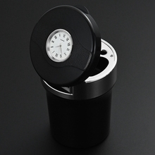 1PC Portable Auto Car Truck Ashtray With Clock Cylinder Smokeless Smoke Cup Holder Storage Accessories Y-B005