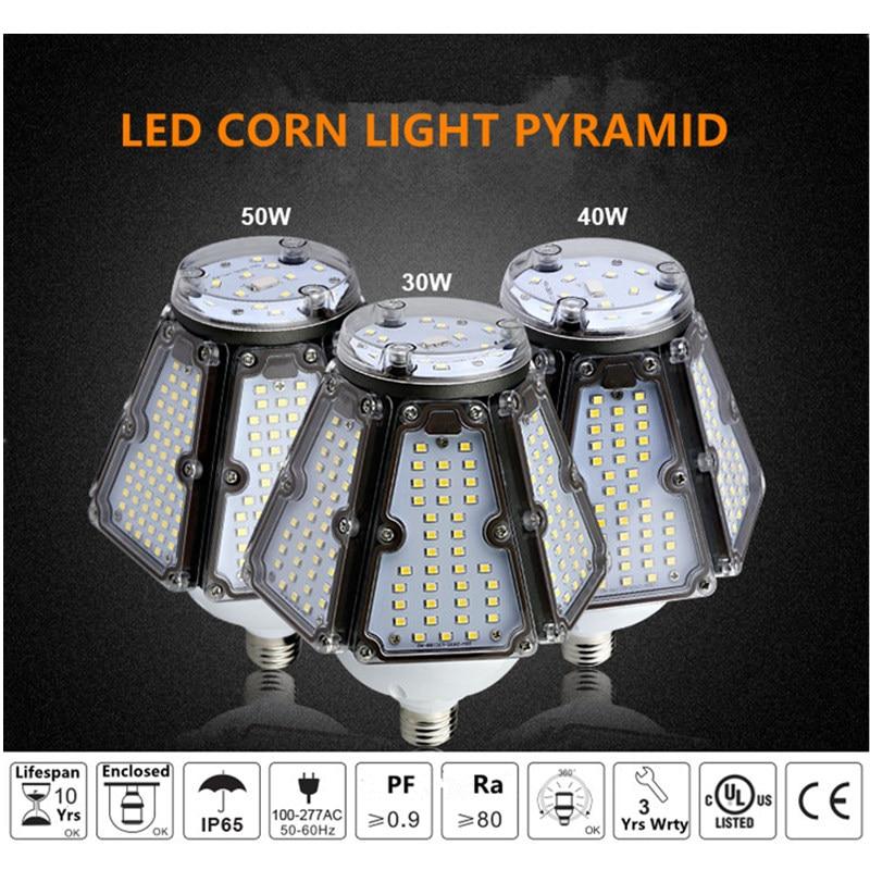 Topoch industrielle ampoule 120LM/W 30 W 40 W 50 W LED UL CE liste vis Base CFL HID remplacement 100-277 V pour les appareils de baie d'auvent