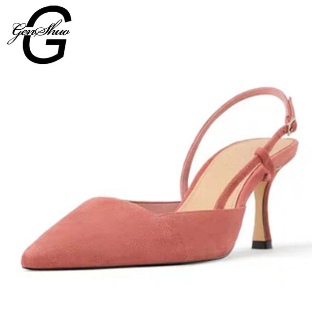 GENSHUO High Heels Women's Shoes Pointed Toe Office Ladies Shoes Plus Size 34-41 Dress Shoes For Party Prom Summer Mules Sandals