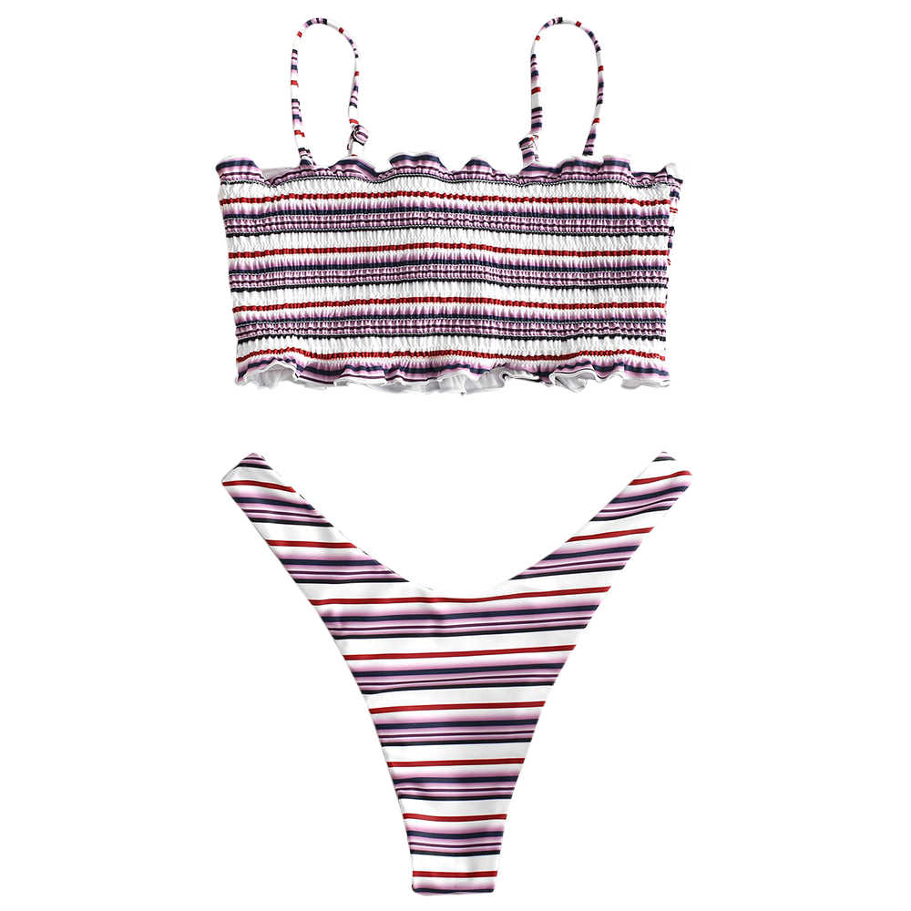 ZAFUL Sexy Bikini kobiet strój kąpielowy stroje kąpielowe stanik Plaid brazylijski Bikini Set strój kąpielowy plaży latem nosić Bikini Set