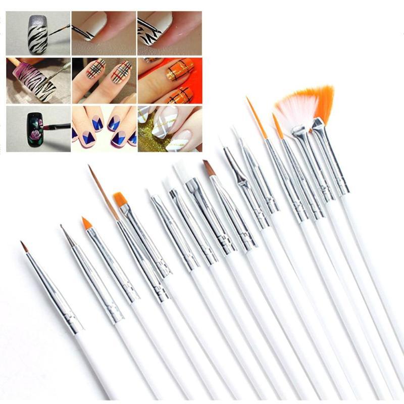 20 pièces Nail Art peinture stylo ensemble ongles pointillé dessin vernis pinceaux outil brosses pour manucure ongles brosse accessoires - 2