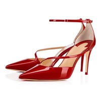 Moraima Snc 2019 New Sexy Pointed Toe Red Black Pink Sandals Woman Summer Shoes Thin Heels Female Stilettos Fashion Party Pumps