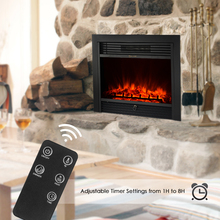 1800W 28.7″*21″ Embedded Fireplace Insert Heater Glass View Adjustable LED Flame Heat Setting with Remote Control
