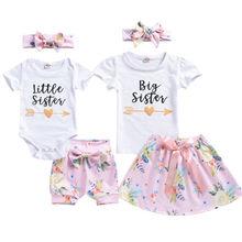 Брендовый комплект одинаковой одежды для маленьких девочек платье-футболка комбинезон+ шорты, комплект из 2 предметов
