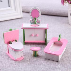 Имитация миниатюрной деревянной мебели, детские игрушки, детская комната, игровая игрушка, кукольный домик, деревянный набор мебели для кукол