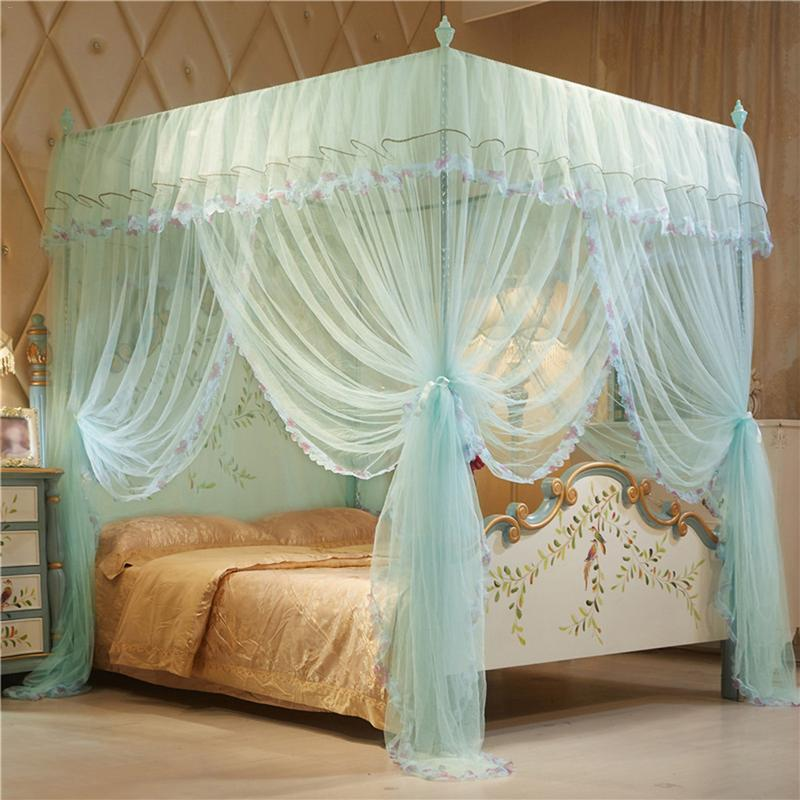 2019 Newest 4 Posters Corners Bed Canopy Princess Queen Mosquito Bedding Net Bed Tent Floor-Length Curtain <font><b>150*200</b></font> mm #WW image
