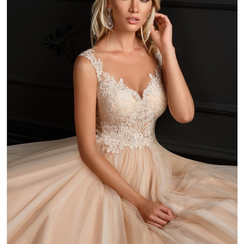 Eightale Champagne Wedding Dress O Neck Appliques Tulle Bride Dress Lace Sheer Romatic Wedding Gowns vestidos de novia 2019-in Wedding Dresses from Weddings & Events    1