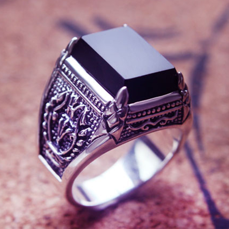 Image 3 - ZABRA Real 925 Silver Black Zircon Ring For Men Female Engraved Flower Men Fashion Sterling Thai Silver Jewelry Synthetic Onyx-in Rings from Jewelry & Accessories