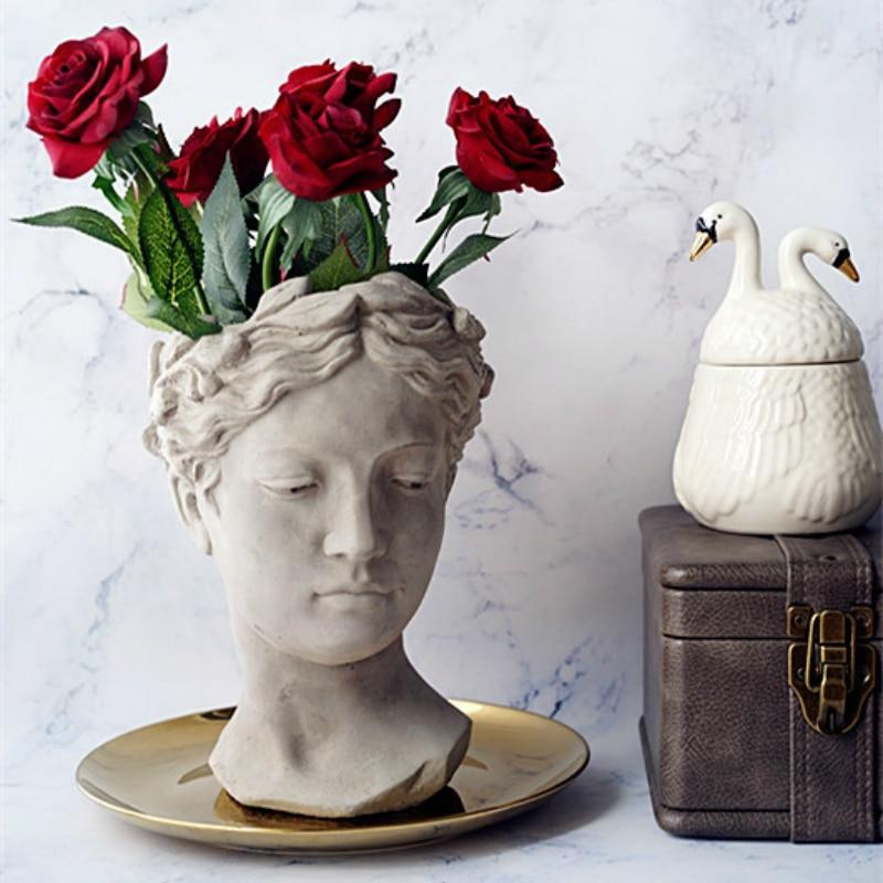 Greek Goddess Head Sculpture Flower Pot Vase Desk Balcony Colorful Human Face Decorative Dried Flowers Arrangement VaseGreek Goddess Head Sculpture Flower Pot Vase Desk Balcony Colorful Human Face Decorative Dried Flowers Arrangement Vase