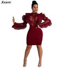 Xnxee Burgundy Ruffle Sheer Lace Bodycon Dress O Neck Long Sleeve Empire Sheath Mini Night Club Party Dresses Women Vestidos burgundy lace detail crew neck long sleeves bodycon dress
