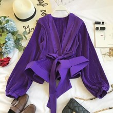 цены на Ruched Pleated Ruffles Chiffon Blouse Women Grace Sashes Vintage Blouse Spring Fashion Elegant V-Neck Shirt  в интернет-магазинах