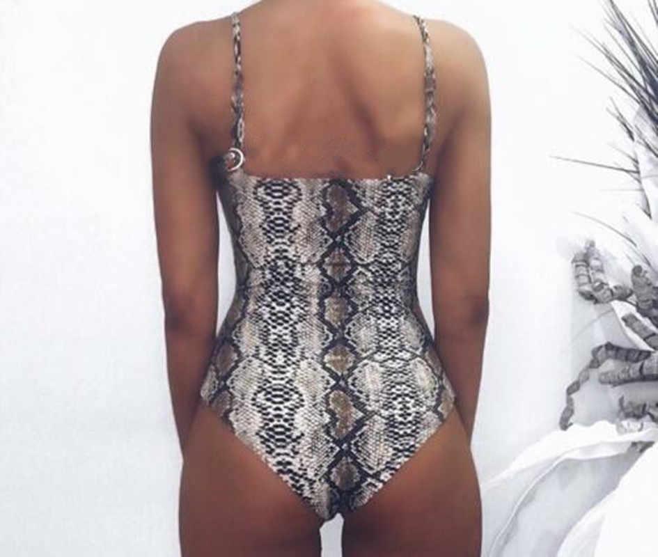 2019 Zomer Serpentine Snake Leopard Gedrukt Bodycon Een Stuk Badpak Vrouwen Bodysuit Sexy Stretch Bikini Badmode Badpak