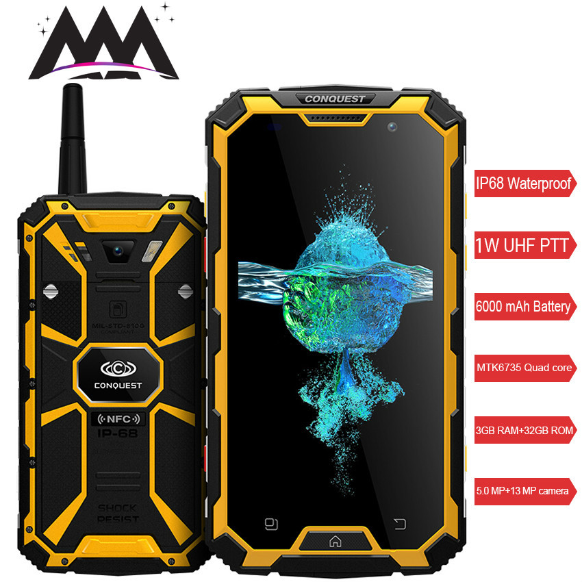 Conquest S8 IP68 Waterproof shockproof 4G <font><b>Smartphone</b></font> 3GB RAM 32GB ROM MTK6735 Quad-core Android 5.1 <font><b>6000mah</b></font> battery mobile phone image