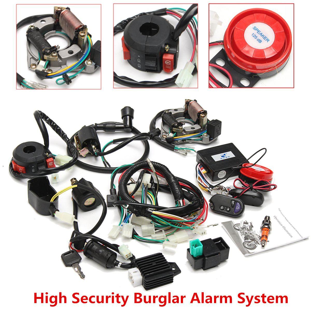 Système d'alarme faisceau de câblage électrique complet CDI 0cc 70cc 110cc 125cc ATV commutateur de démarrage à distance haute sécurité pour électrique
